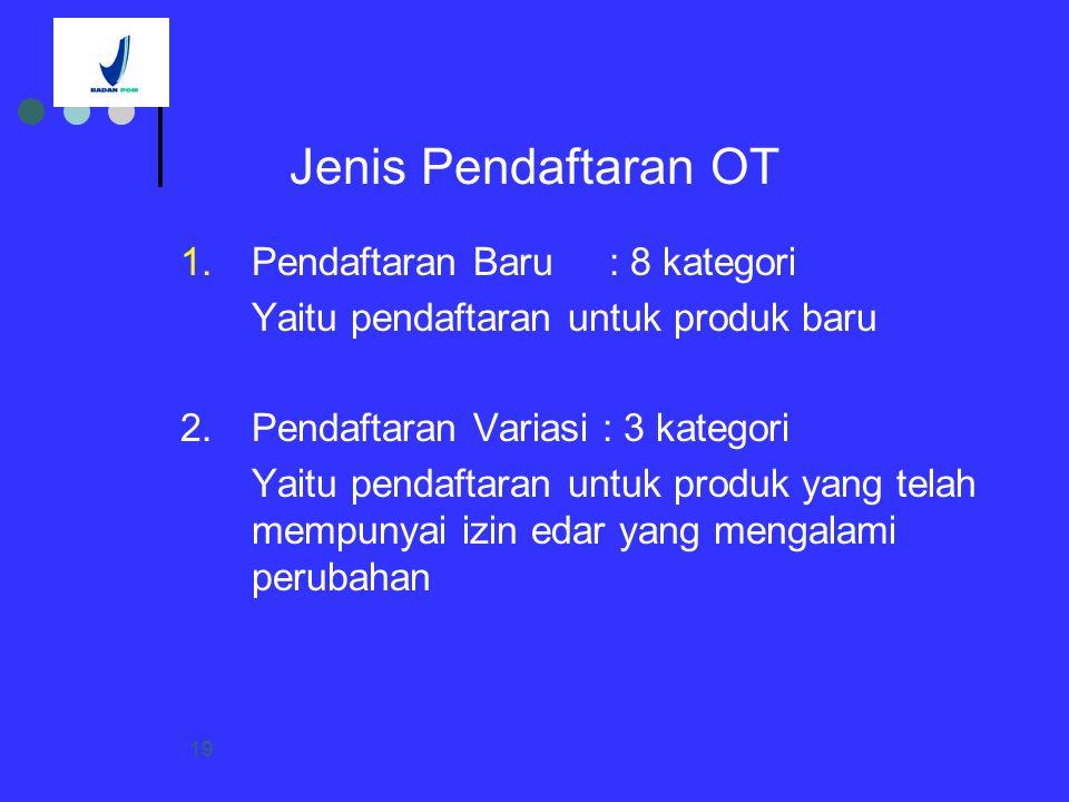 Jenis Pendaftaran OT 1. Pendaftaran Baru : 8 kategori