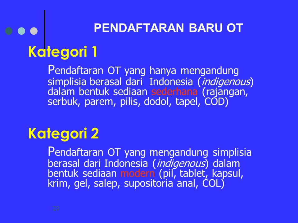 PENDAFTARAN BARU OT Kategori 1.