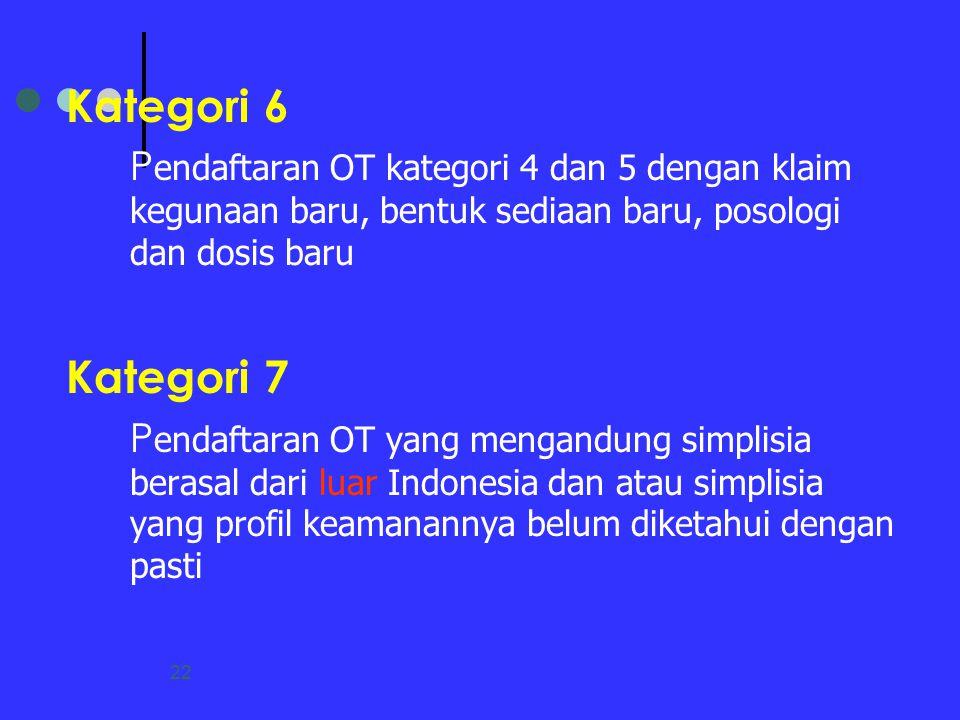 Kategori 6 Pendaftaran OT kategori 4 dan 5 dengan klaim kegunaan baru, bentuk sediaan baru, posologi dan dosis baru.