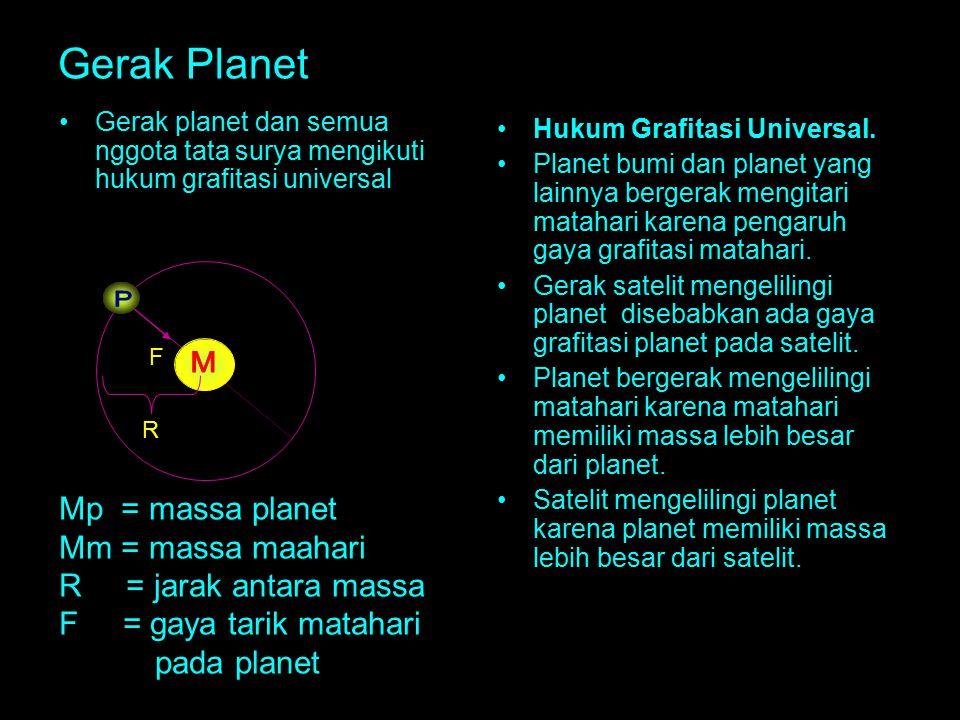 P M Gerak Planet Mp = massa planet Mm = massa maahari