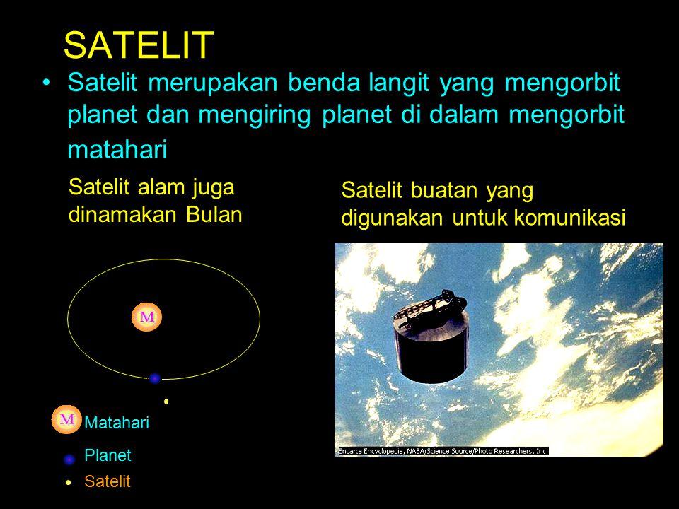 SATELIT Satelit merupakan benda langit yang mengorbit planet dan mengiring planet di dalam mengorbit matahari.