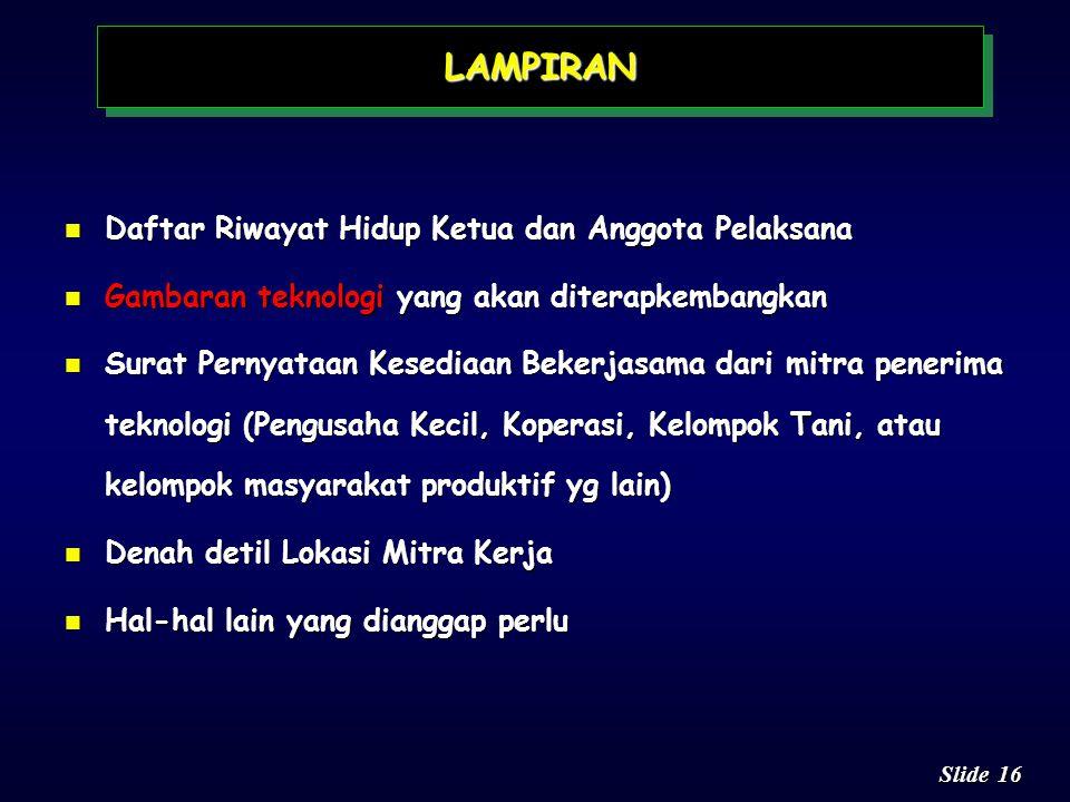 LAMPIRAN Daftar Riwayat Hidup Ketua dan Anggota Pelaksana