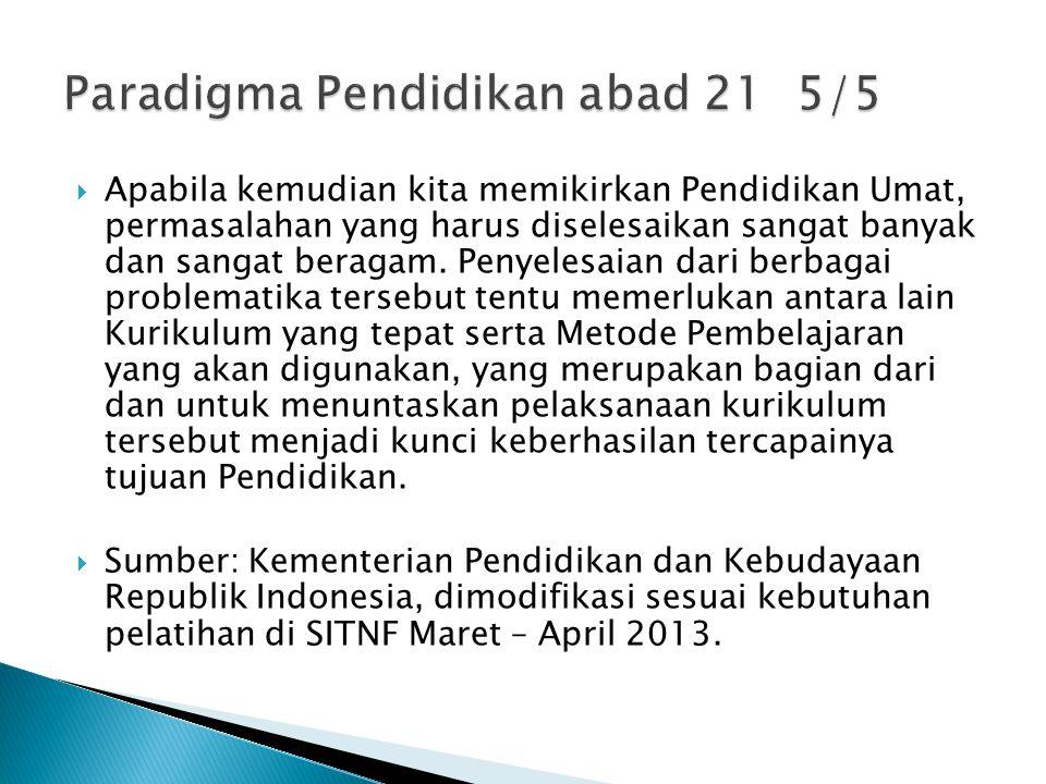 Paradigma Pendidikan abad 21 5/5