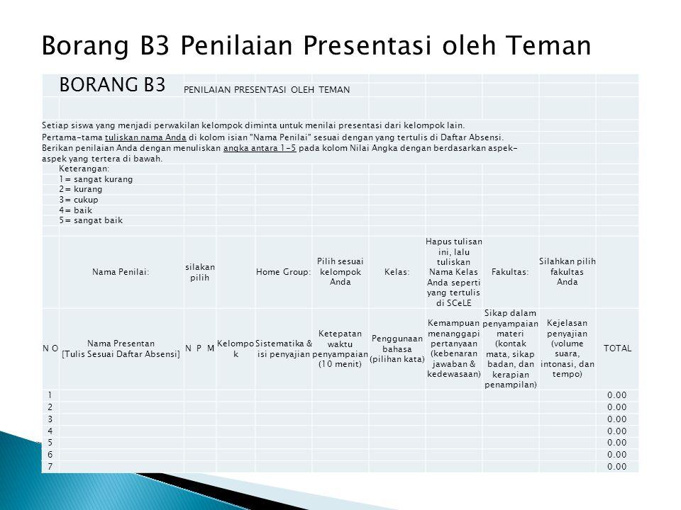 Borang B3 Penilaian Presentasi oleh Teman