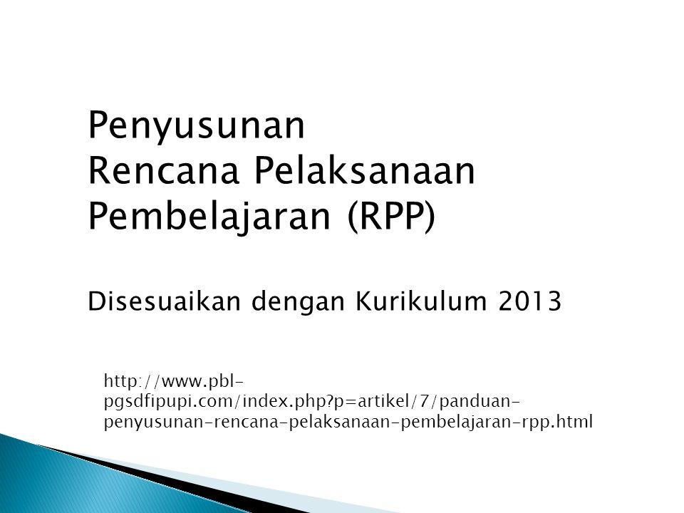 Penyusunan Rencana Pelaksanaan Pembelajaran (RPP)