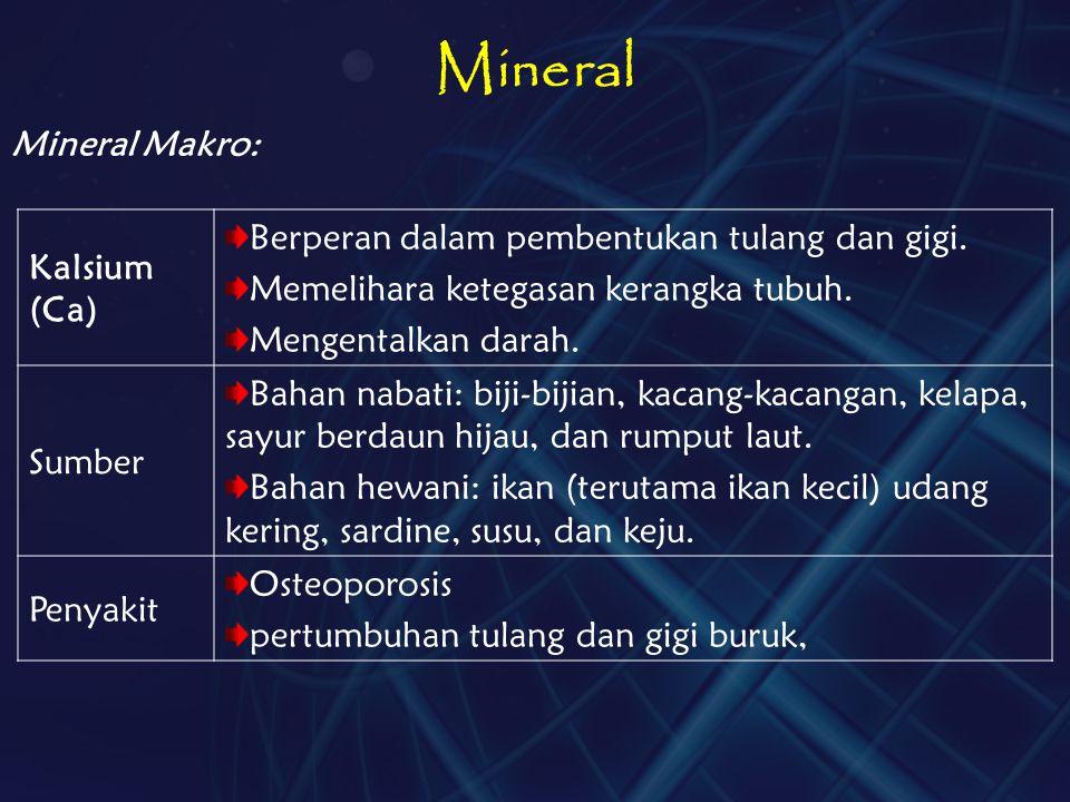 Mineral Berperan dalam pembentukan tulang dan gigi. Kalsium (Ca)