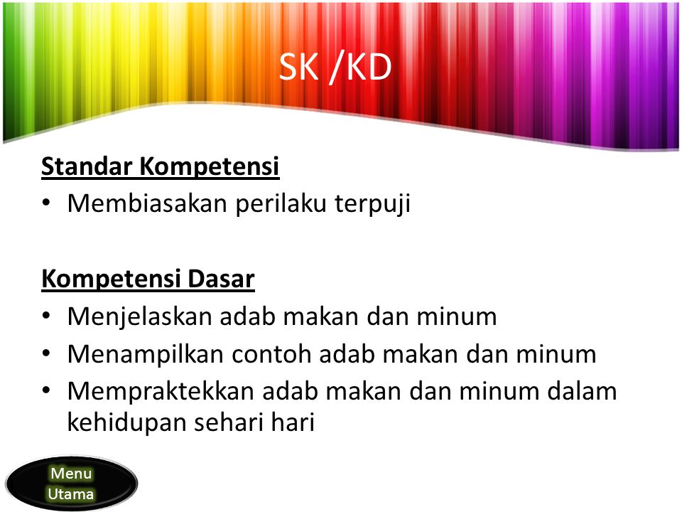 SK /KD Standar Kompetensi Membiasakan perilaku terpuji