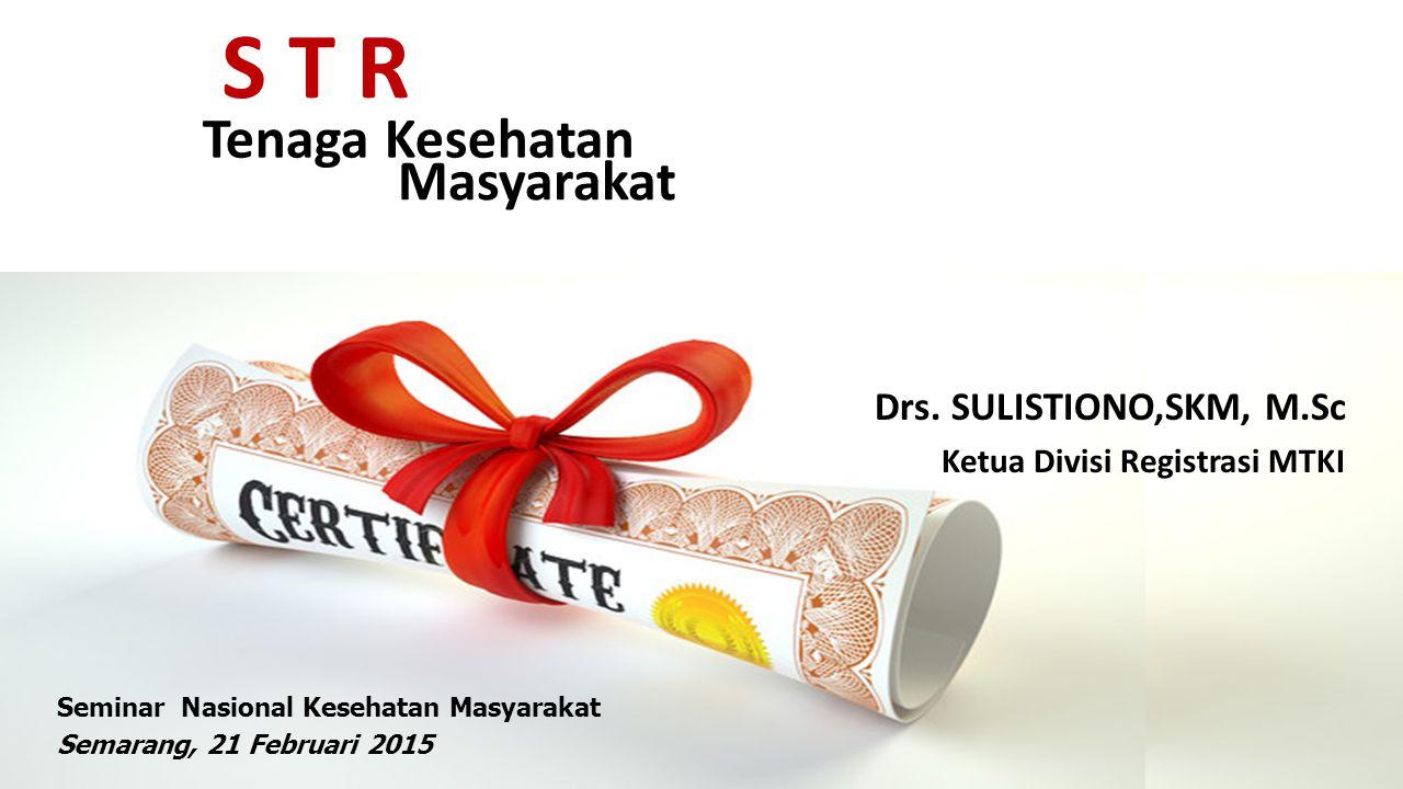 S T R Tenaga Kesehatan Masyarakat Drs. SULISTIONO,SKM, M.Sc