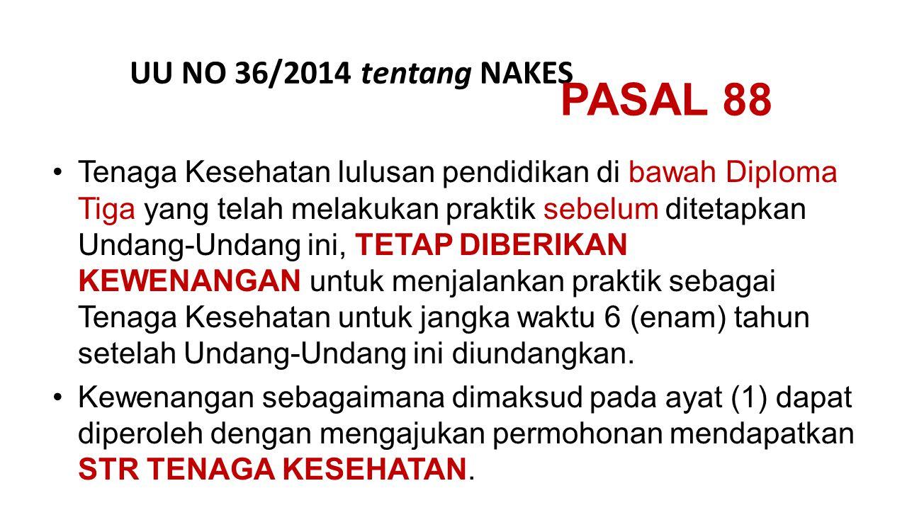 PASAL 88 UU NO 36/2014 tentang NAKES