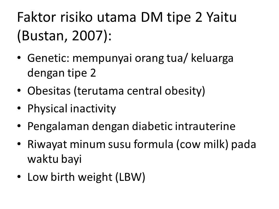 Faktor risiko utama DM tipe 2 Yaitu (Bustan, 2007):