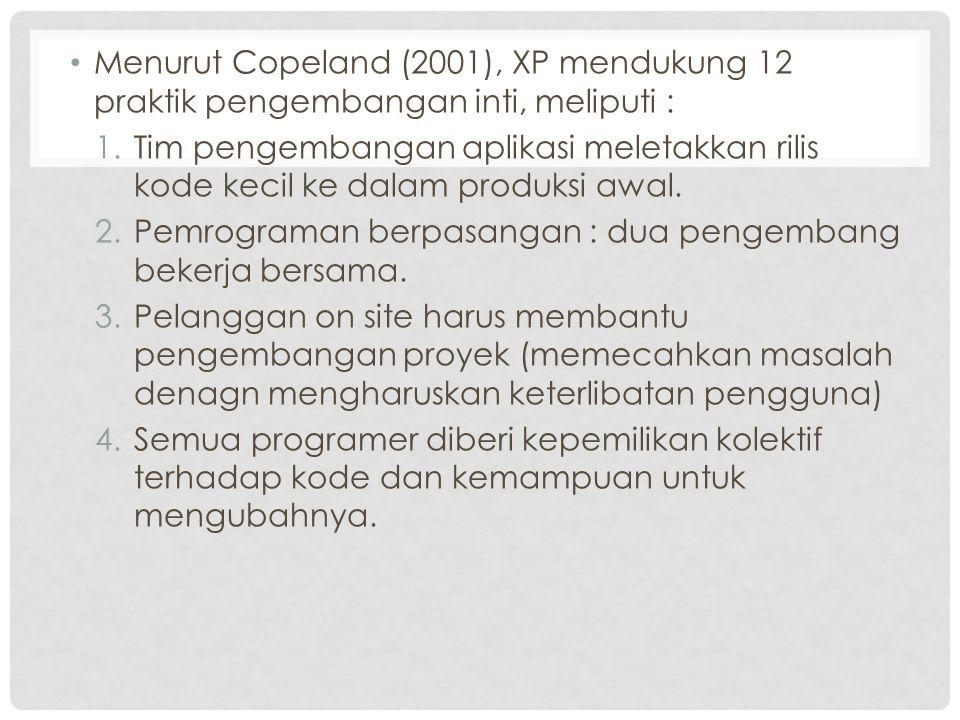 Menurut Copeland (2001), XP mendukung 12 praktik pengembangan inti, meliputi :