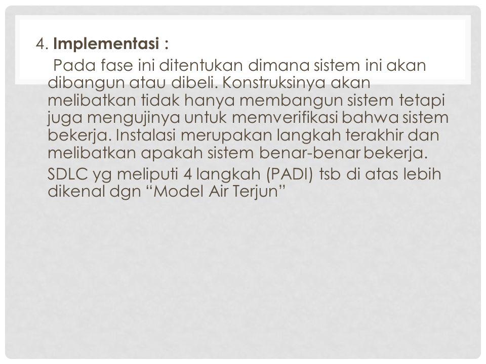 4. Implementasi : Pada fase ini ditentukan dimana sistem ini akan dibangun atau dibeli.