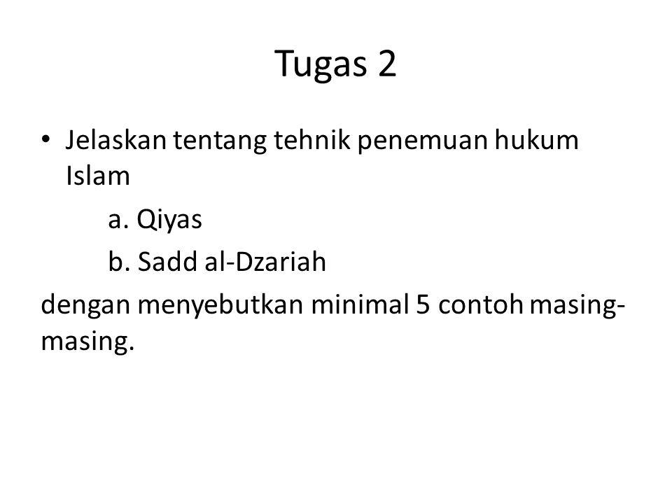 Tugas 2 Jelaskan tentang tehnik penemuan hukum Islam a. Qiyas