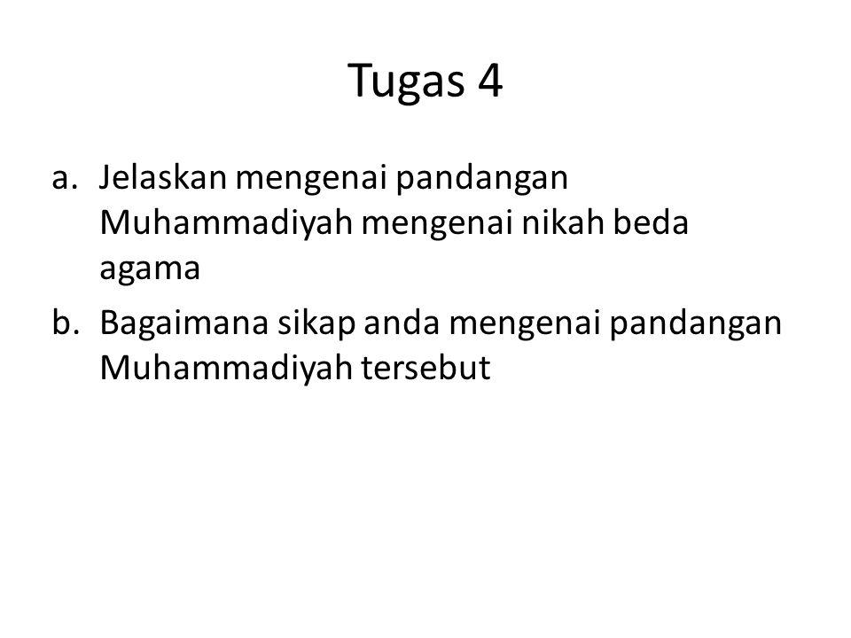 Tugas 4 Jelaskan mengenai pandangan Muhammadiyah mengenai nikah beda agama.