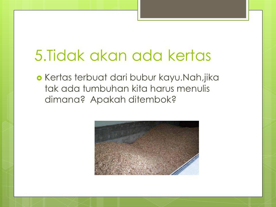 5.Tidak akan ada kertas Kertas terbuat dari bubur kayu.Nah,jika tak ada tumbuhan kita harus menulis dimana.