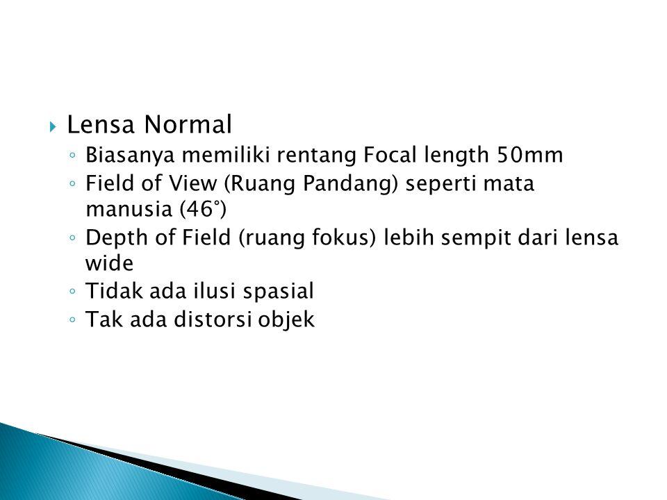 Lensa Normal Biasanya memiliki rentang Focal length 50mm
