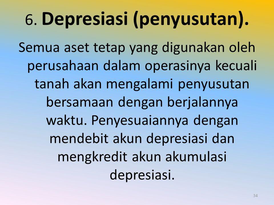 6. Depresiasi (penyusutan).