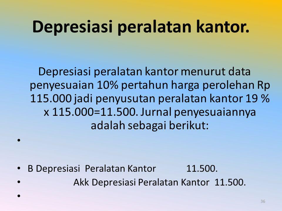 Depresiasi peralatan kantor.