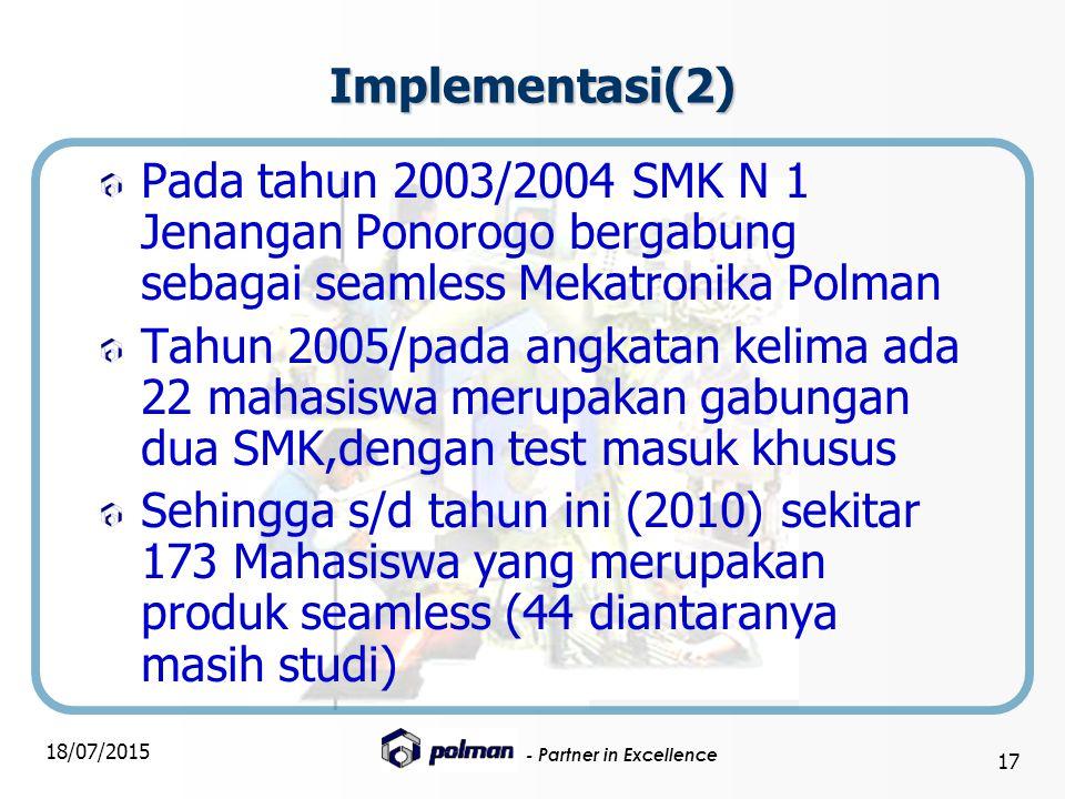 Implementasi(2) Pada tahun 2003/2004 SMK N 1 Jenangan Ponorogo bergabung sebagai seamless Mekatronika Polman.