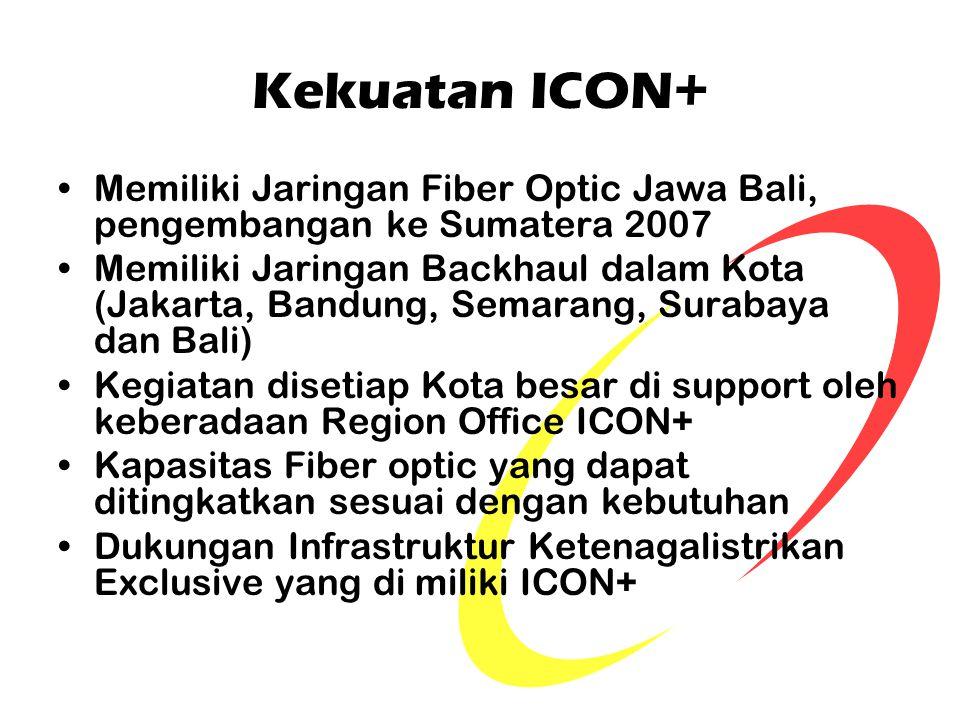 Kekuatan ICON+ Memiliki Jaringan Fiber Optic Jawa Bali, pengembangan ke Sumatera 2007.