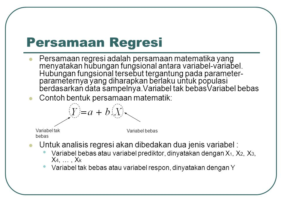Persamaan Regresi
