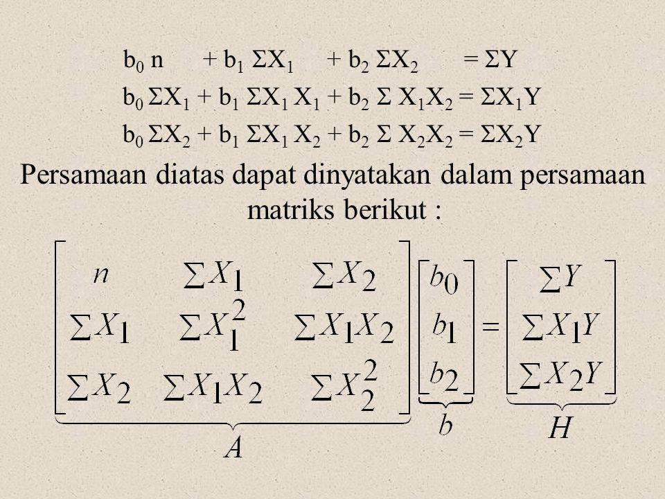 Persamaan diatas dapat dinyatakan dalam persamaan matriks berikut :