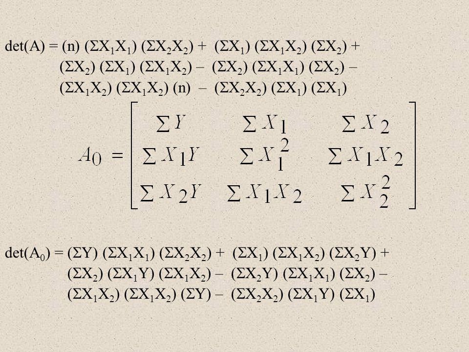 det(A) = (n) (X1X1) (X2X2) + (X1) (X1X2) (X2) +