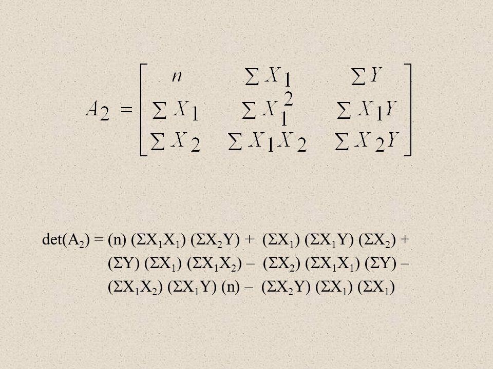 det(A2) = (n) (X1X1) (X2Y) + (X1) (X1Y) (X2) +