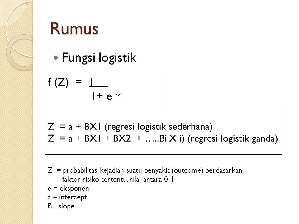 Rumus Fungsi logistik f (Z) = 1 1+ e -z