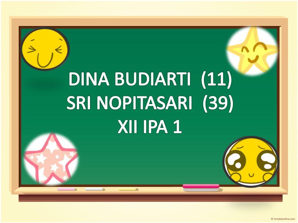 DINA BUDIARTI (11) SRI NOPITASARI (39) XII IPA 1