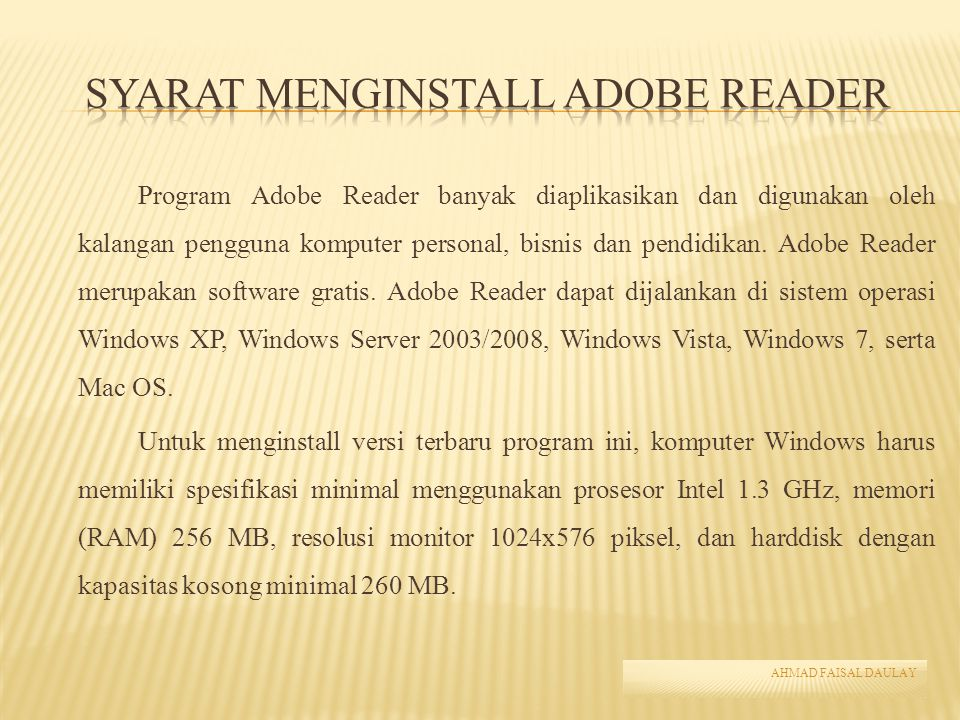 Syarat Menginstall Adobe Reader