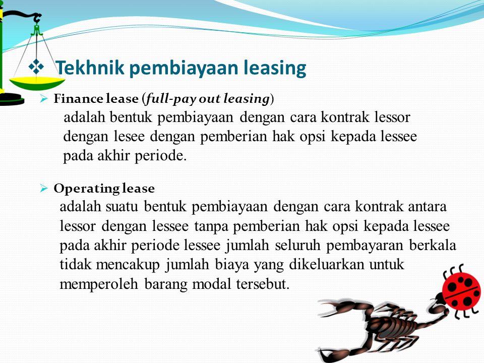 Tekhnik pembiayaan leasing
