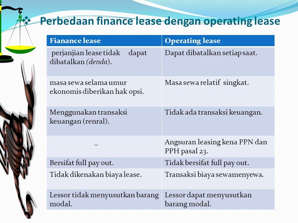 Perbedaan finance lease dengan operating lease