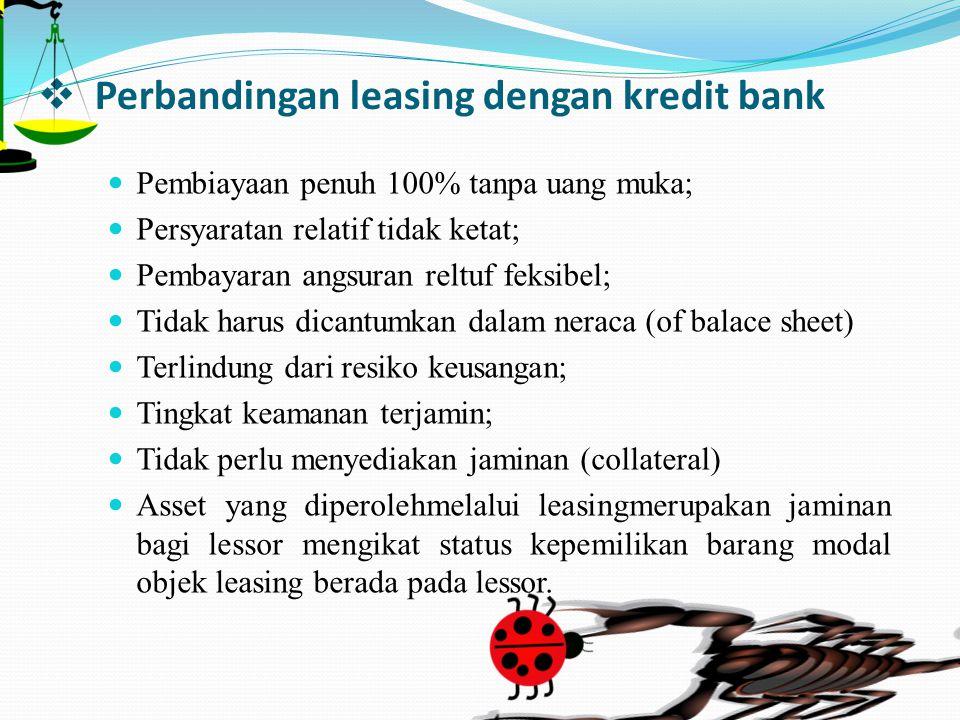Perbandingan leasing dengan kredit bank