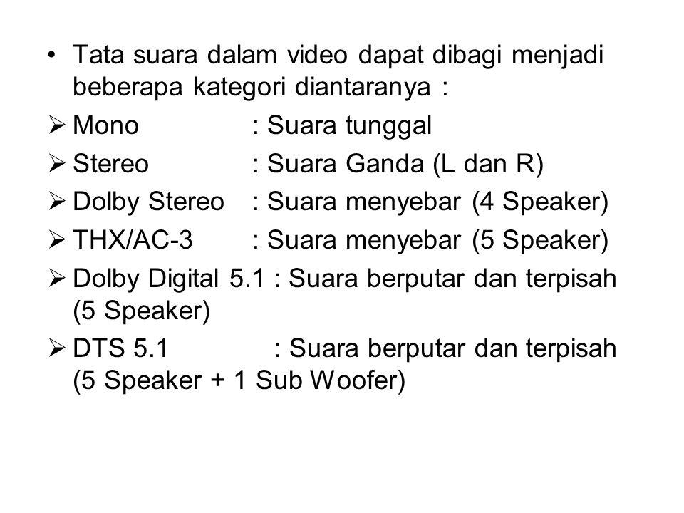 Tata suara dalam video dapat dibagi menjadi beberapa kategori diantaranya :