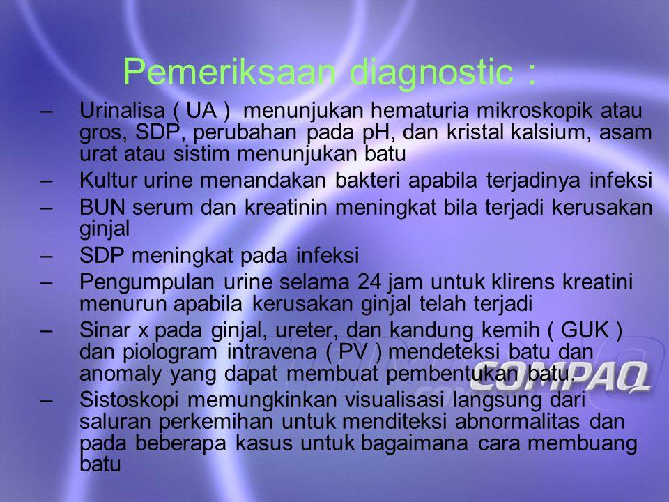 Pemeriksaan diagnostic :