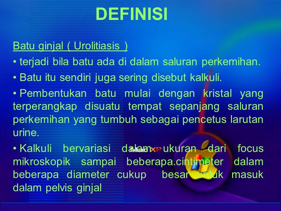 DEFINISI Batu ginjal ( Urolitiasis )