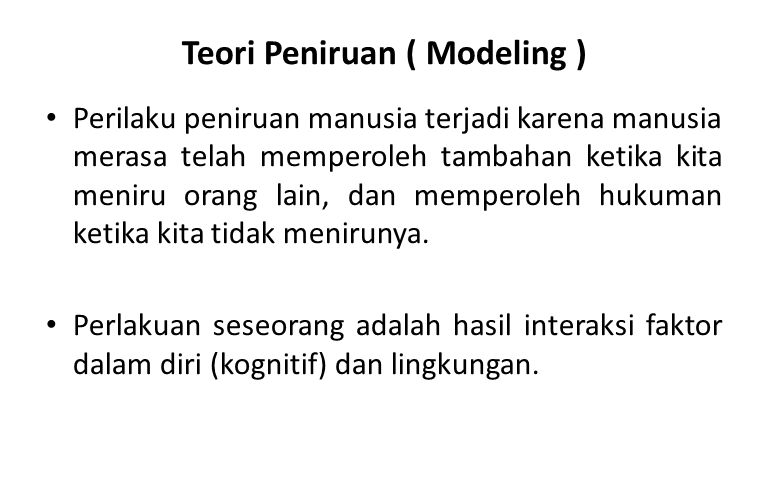 Teori Peniruan ( Modeling )