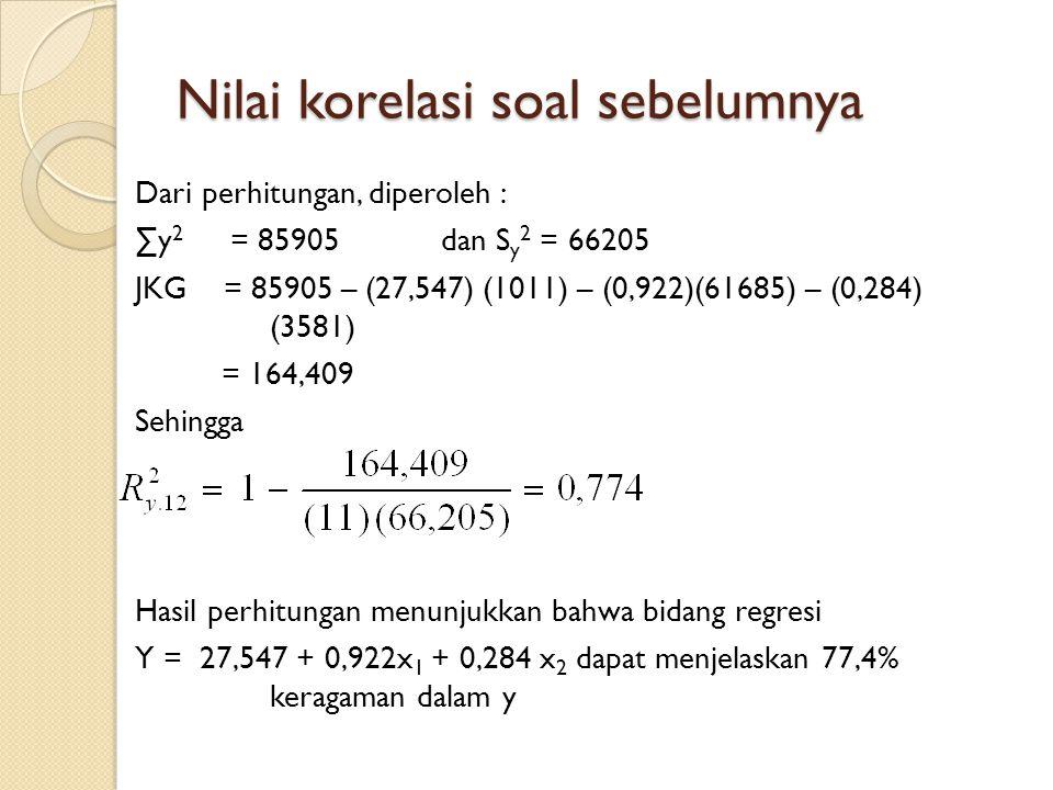 Nilai korelasi soal sebelumnya