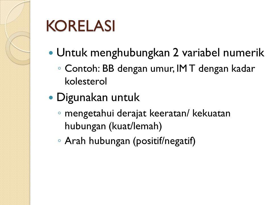 KORELASI Untuk menghubungkan 2 variabel numerik Digunakan untuk