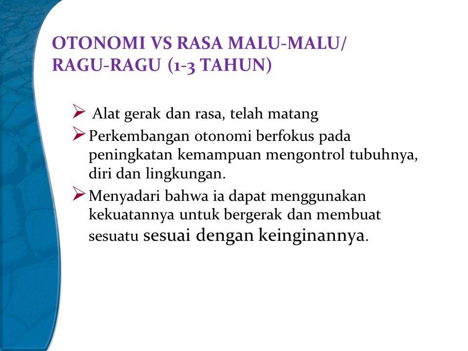 OTONOMI VS RASA MALU-MALU/ RAGU-RAGU (1-3 TAHUN)