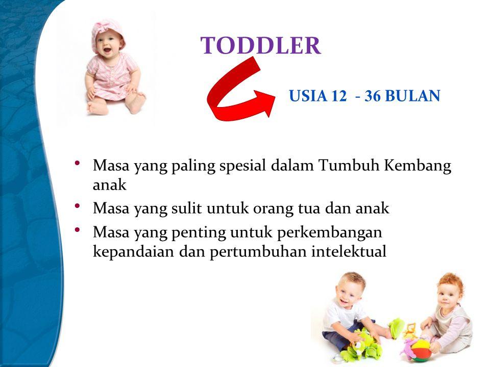 TODDLER USIA 12 - 36 BULAN. Masa yang paling spesial dalam Tumbuh Kembang anak. Masa yang sulit untuk orang tua dan anak.