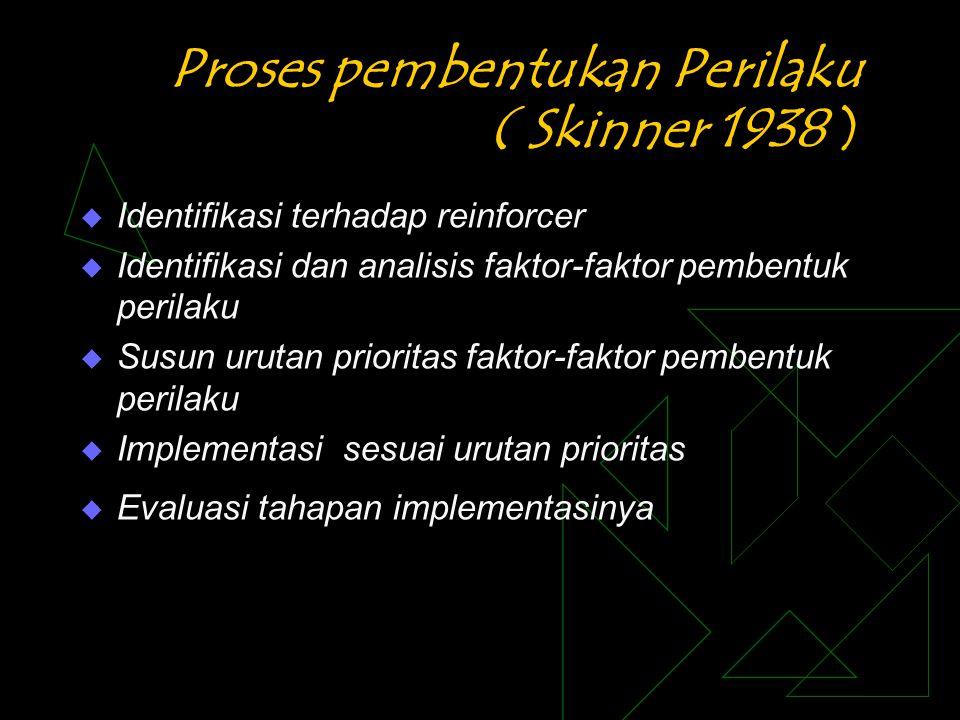 Proses pembentukan Perilaku ( Skinner 1938 )