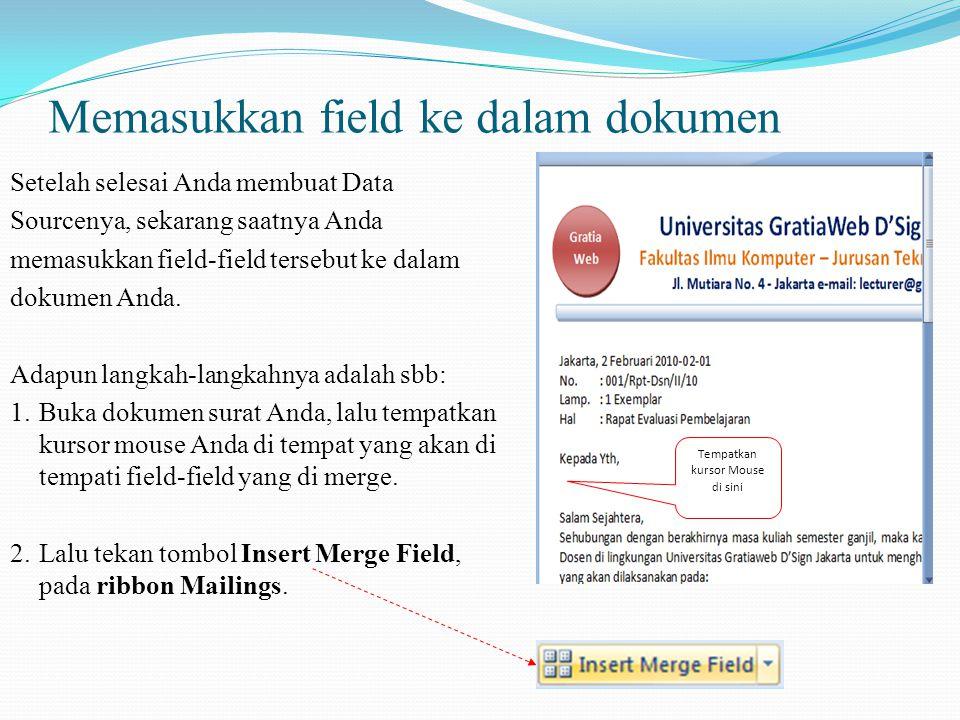 Memasukkan field ke dalam dokumen