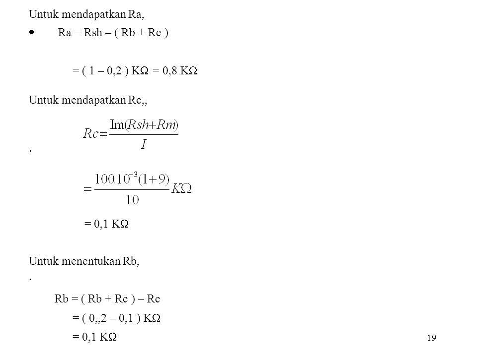 Untuk mendapatkan Ra, · Ra = Rsh – ( Rb + Rc )