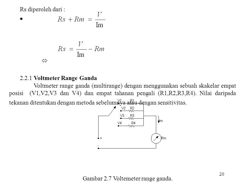 Gambar 2.7 Voltemeter range ganda.