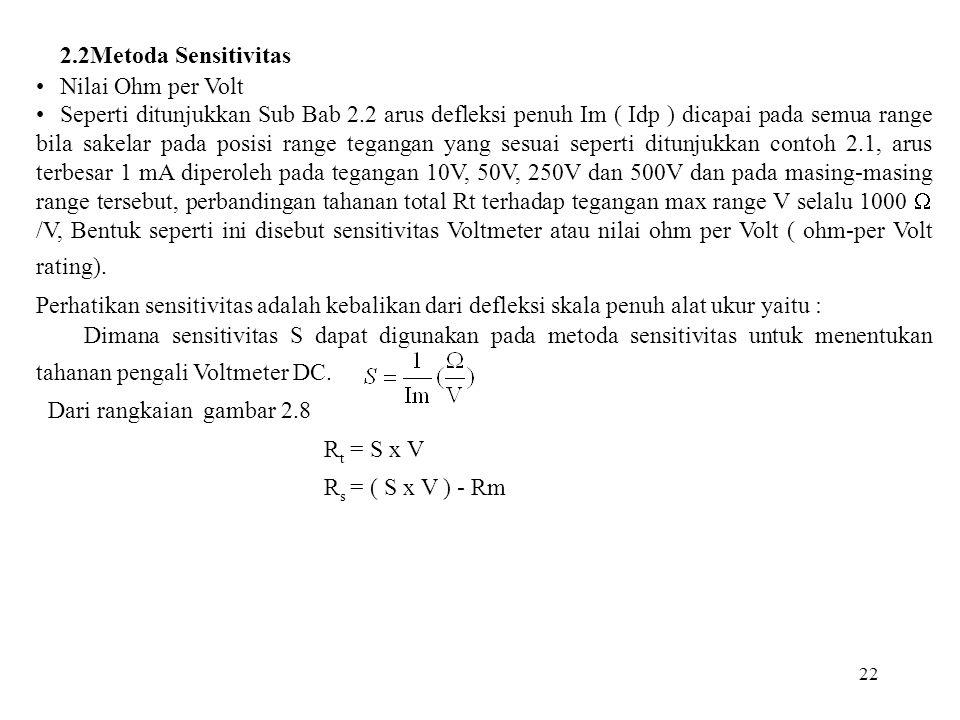 2.2Metoda Sensitivitas Nilai Ohm per Volt