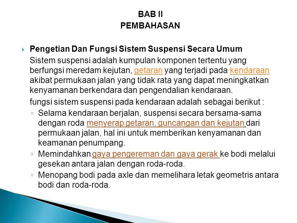 BAB II PEMBAHASAN. Pengetian Dan Fungsi Sistem Suspensi Secara Umum.