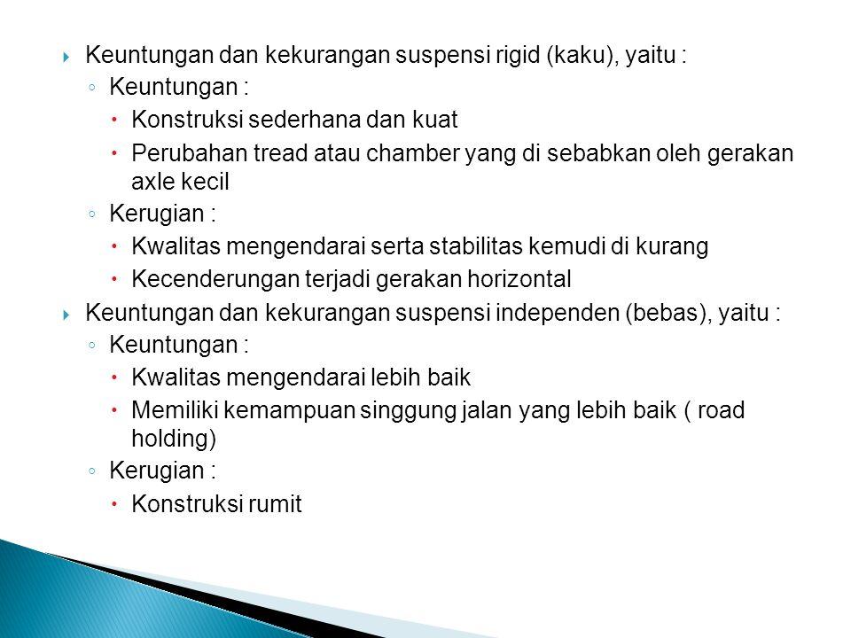 Keuntungan dan kekurangan suspensi rigid (kaku), yaitu :