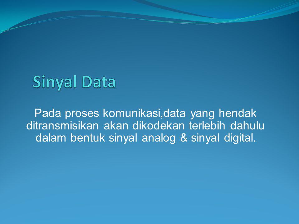 Sinyal Data Pada proses komunikasi,data yang hendak ditransmisikan akan dikodekan terlebih dahulu dalam bentuk sinyal analog & sinyal digital.